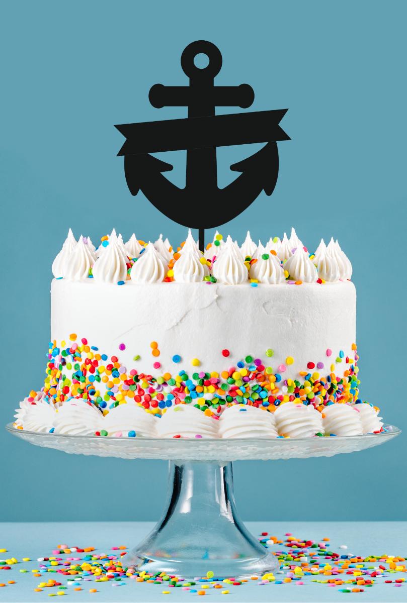 acryliccraft com - Cake Topper - Anchor Banner - Acrylic